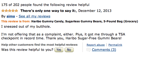 Haribo sugarless Gummy Bear review on amazon that start with them saying they sneezed out of their butt hole