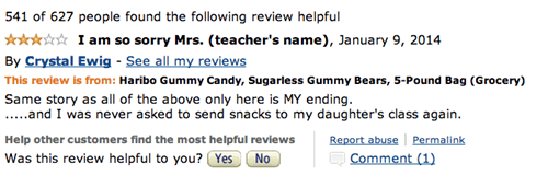 Review for Haribo Gummy Bears on Amazon joking written as apology note to a teacher with explanation that she is no longer asked to provide a snack for the class