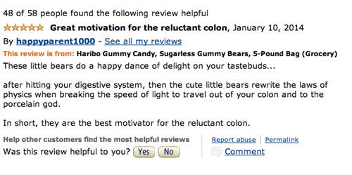 Great amazon review for Haribo gummy bears as a laxative for reluctant colon