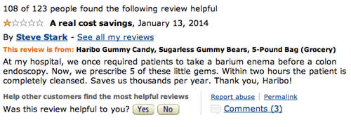 Steve Stark leaves a review for Haribo sugarless gummy bears joking that at the hospital he works at they are used instead of an enema