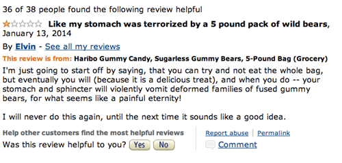 Haribo Sugarless gummy Bear review of how it terrorized his stomach like a pack of wild bears