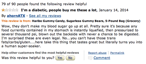 Diabetic chimes in about how people buy him Haribo sugarless gummy bears without realizing their laxative properties