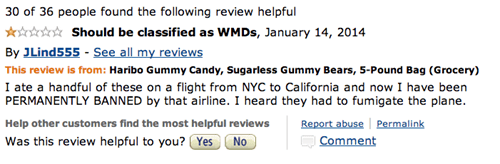 Amazon review of Haribo sugarless gummy bears joking they should be listed as a WMD