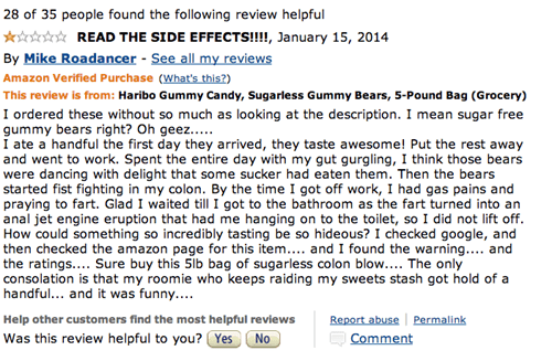 Amazon review of Haribo Gummy Bears urging potential customers to read the side effects