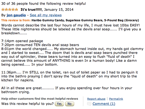 Funny amazon review for sugarless gummy bears by Haribo