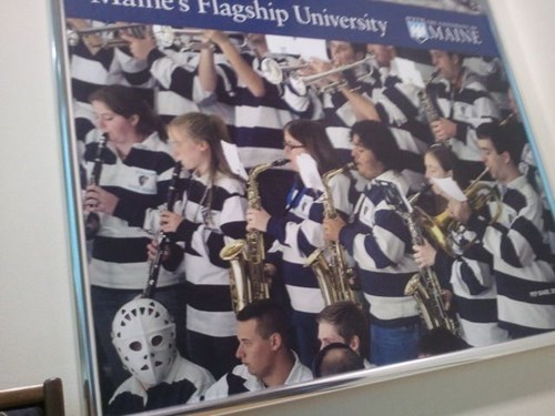 photobomb,hockey mask,pep band,college