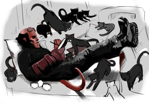 comics Fan Art cartoons hellboy Cats - 8010244096