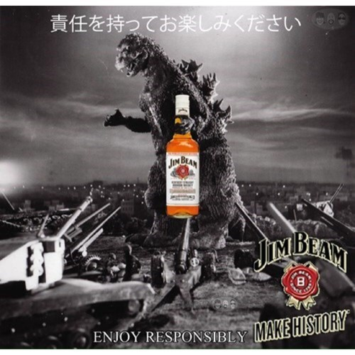 whiskey,godzilla,ads,jim beam,funny