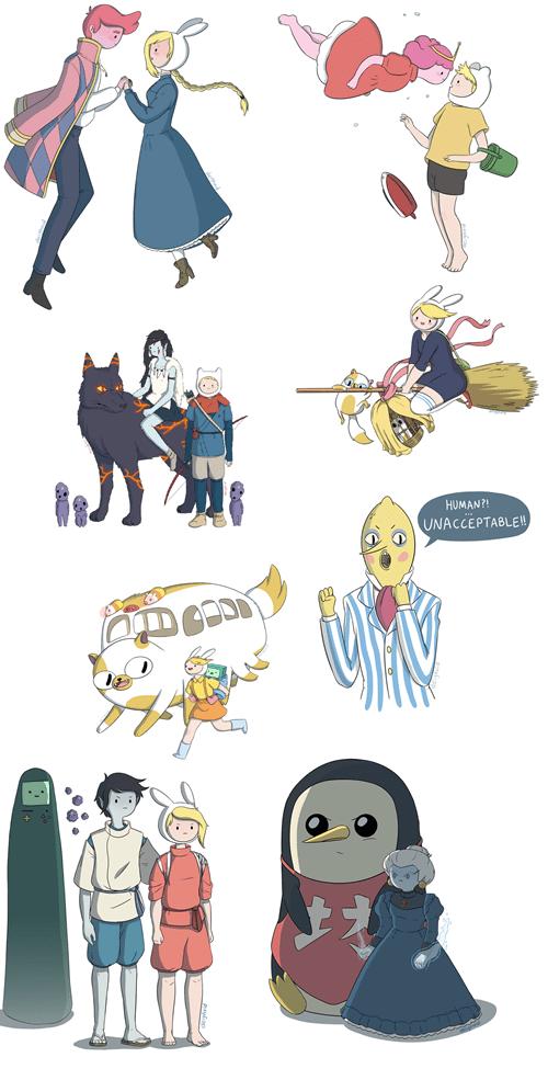 crossover anime studio ghibli cartoons adventure time - 8011982592