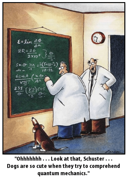 dogs,quantum mechanics,Far Side,science,funny