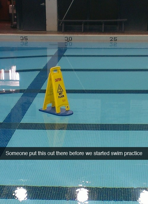 sign work wet floor puns swimming pool - 8013316864