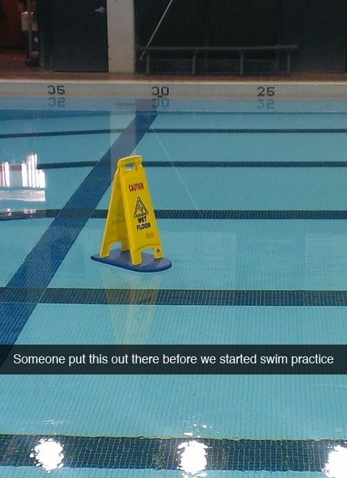 sign work wet floor puns swimming pool - 8013316864
