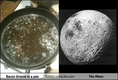 moons,the moon,totally looks like,bacon grease