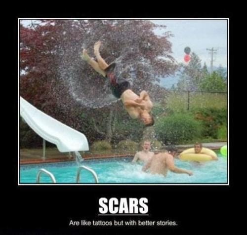 missed,funny,slide,scars,wtf
