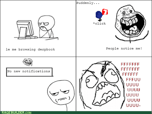 forever alone,rage,trollface,notifications,facebook,computer guy