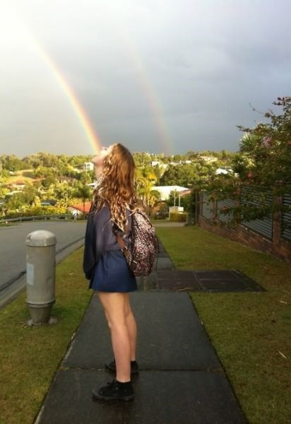 photobomb,taste the rainbow,perfectly timed,double rainbow
