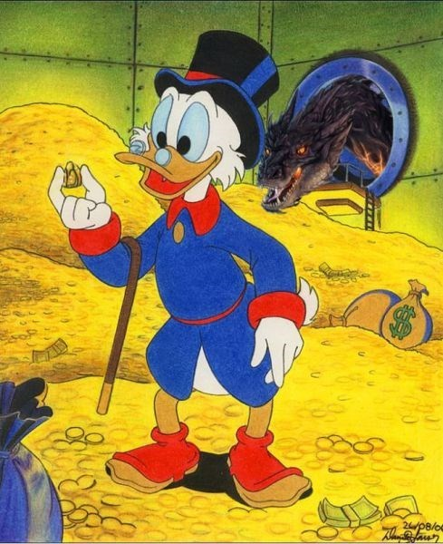 scrooge mcduck,gold,The Hobbit,smaug,duck tales