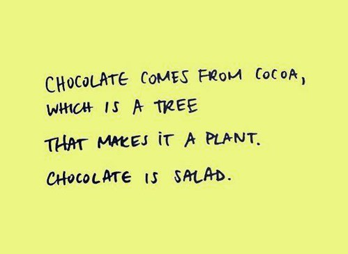 chocolate,salad,new years resolutions,totally true