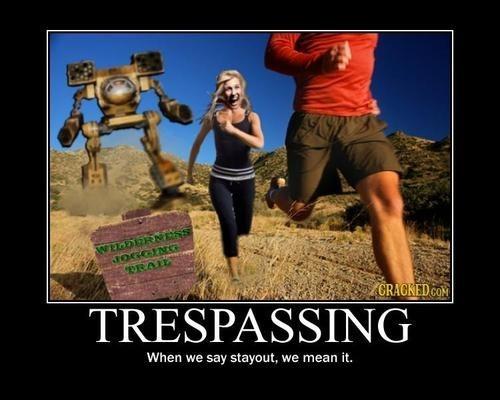 funny robots trespassing warning - 8017389568