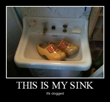 plumber dutch sink clogs funny - 8018610944