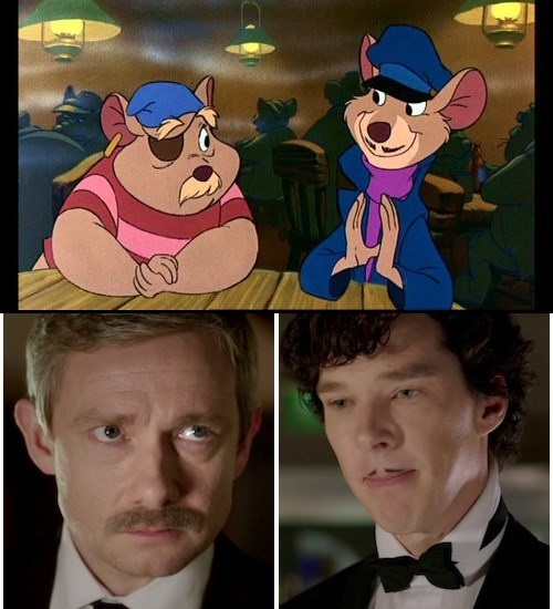 benedict cumberbatch,Martin Freeman,the great mouse detective,Sherlock