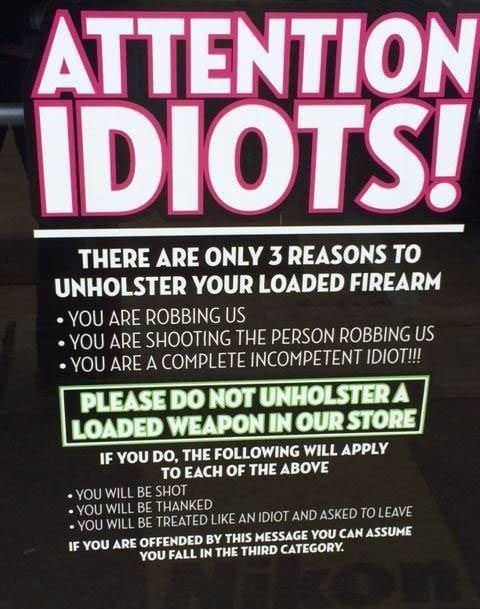 guns idiots signs - 8019085056