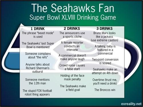 drinking games football nfl sports super bowl XLVIII