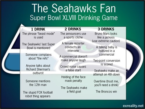 drinking games football nfl sports super bowl XLVIII - 8019608320