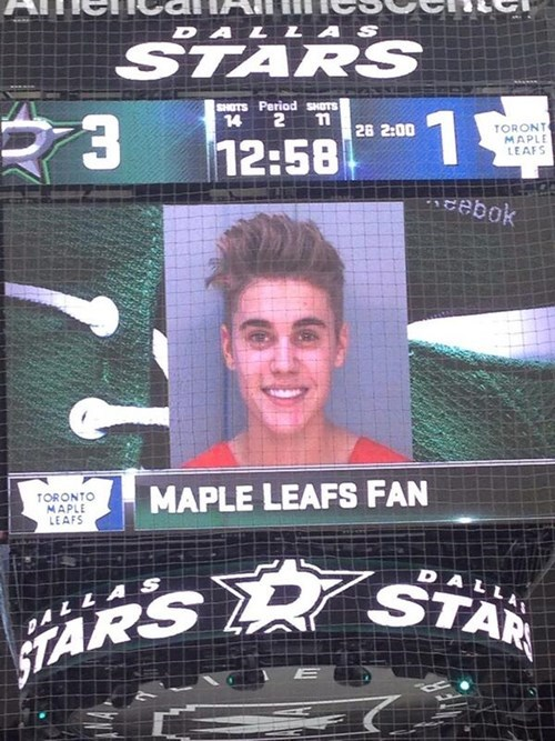 hockey NHL toronto maple leafs justin bieber arrest justin bieber dui dallas stars - 8020075264