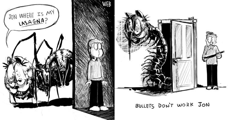 Creepy Garfield art from before I am Sorry Jon