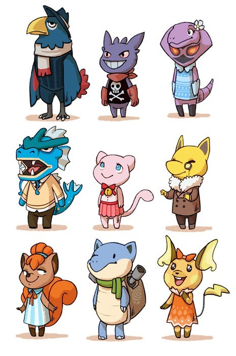 crossover,Pokémon,Fan Art,animal crossing