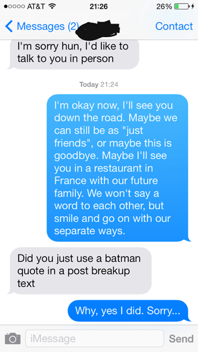texts,batman,breakup