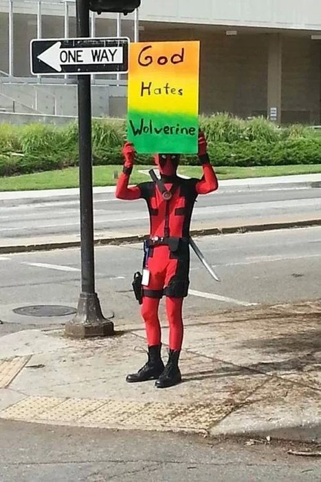 Protest,deadpool,wolverine