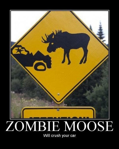 scary sign road zombie moose