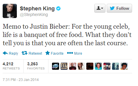 justin bieber stephen king tweet twitter failbook g rated - 8025219840