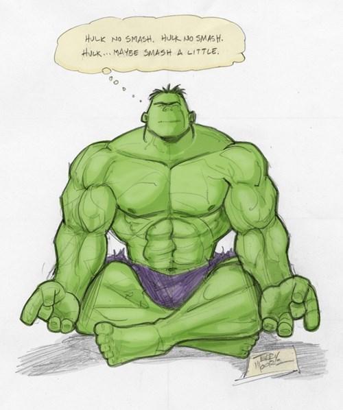 hulk,hulk smash,Fan Art,meditation
