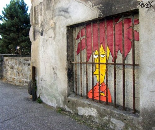 the simpsons Street Art hacked irl Sideshow Bob - 8025236224