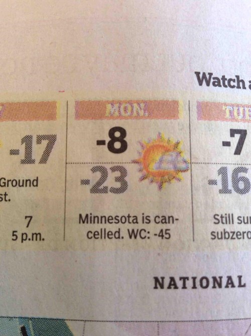 closed frozen newspaper Minnesota fail nation g rated