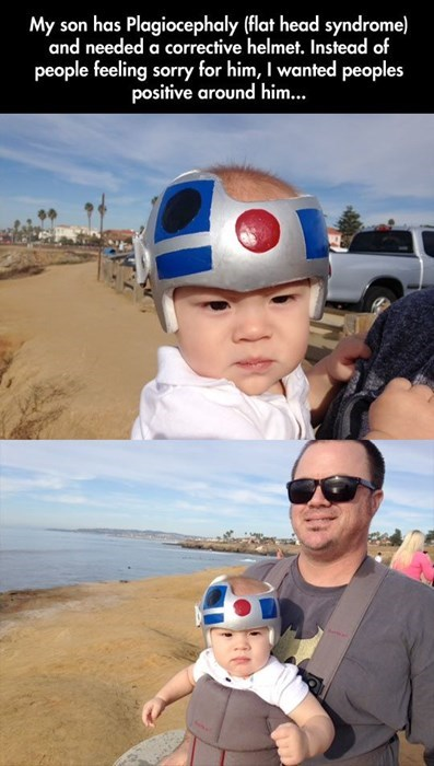 Fun - My son has Plagiocephaly (flat head syndrome) and needed a corrective helmet. Instead of people feeling sorry for him, I wanted peoples positive around him...