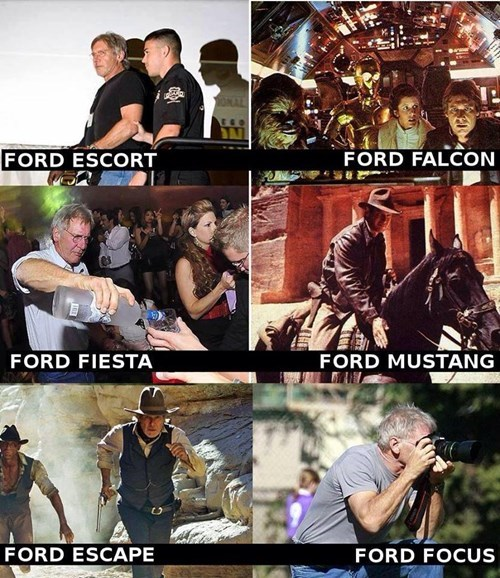 ford,star wars,Indiana Jones,movies,puns,cars,Harrison Ford