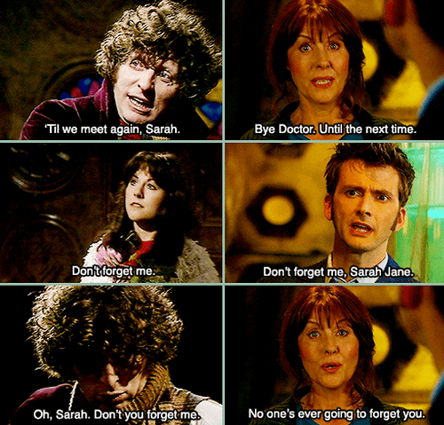 classic who,10th doctor,sarah jane smith,tom baker