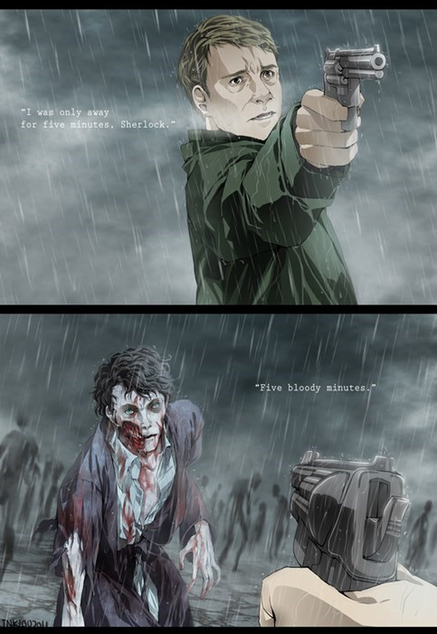 Fan Art mashup Sherlock The Walking Dead - 8026690816