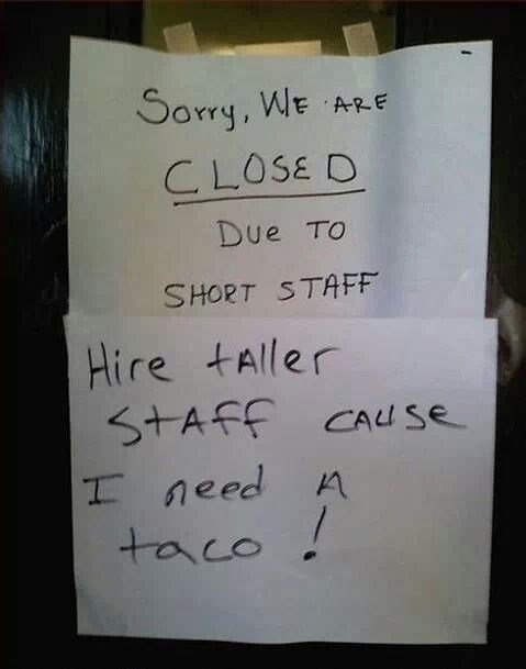 tacos shortstaffed - 8026766848