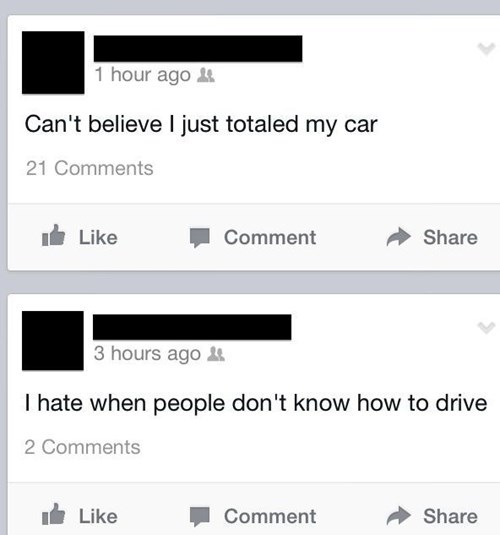 totaled cars driving irony - 8026822656