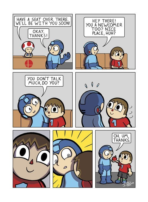super smash bros,animal crossing villager,mega man,web comics