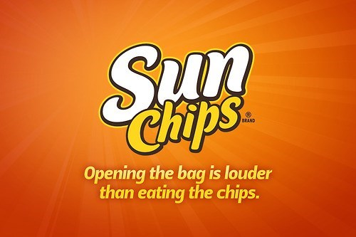 Font - Sun Chips BRAND Opening the bag is louder than eating the chips.