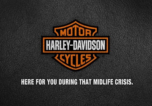 Logo - SMOTOR HARLEY-DAVIDSON YCLES HERE FOR YOU DURING THAT MIDLIFE CRISIS.