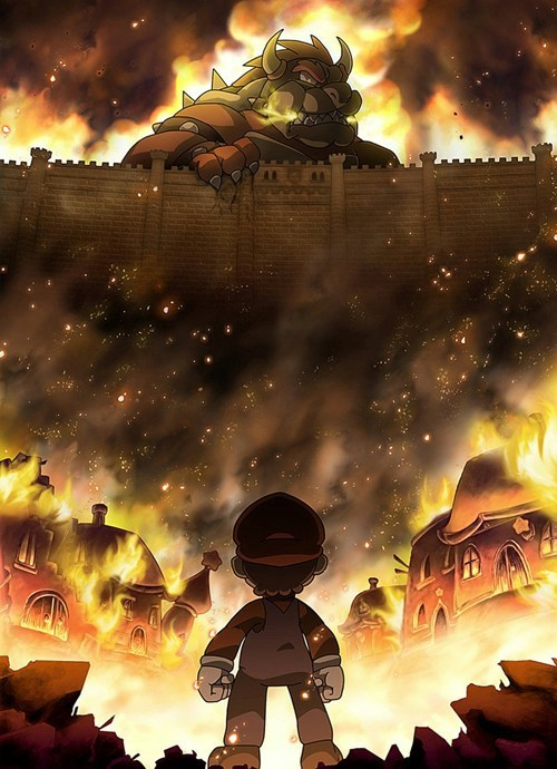 anime crossover video games Super Mario bros attack on titan - 8026984192