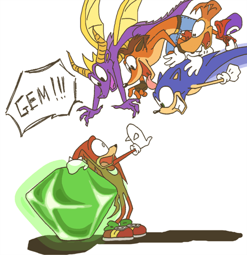 crash bandicoot,ray man,knuckles,video games,chaos emerald,spyro
