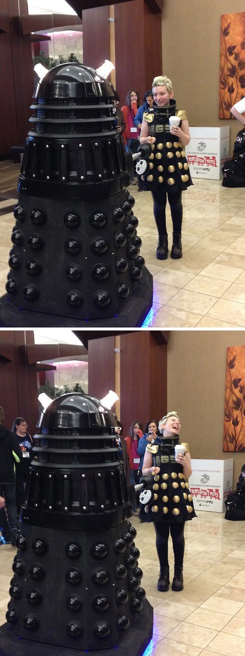 dalek,cosplay,awkward meeting,doctor who
